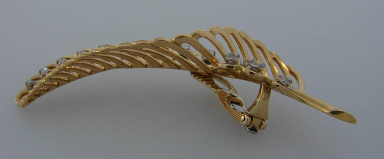 Women's Diamond Yellow Gold Leaf Earrings For Sale