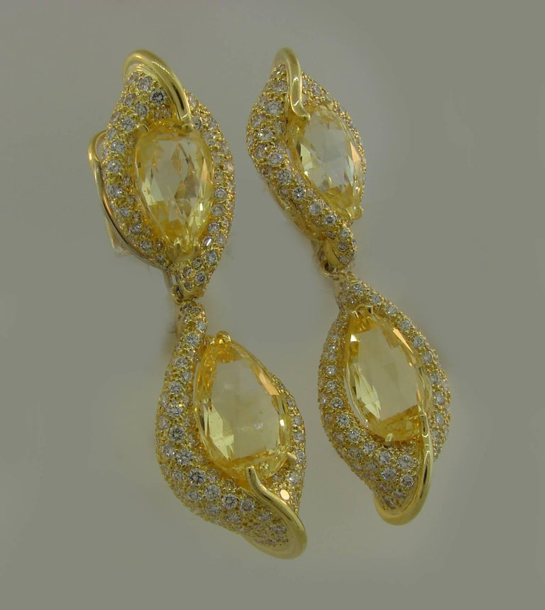 Henry Dunay Yellow Sapphire Diamond Gold Earrings For Sale 1
