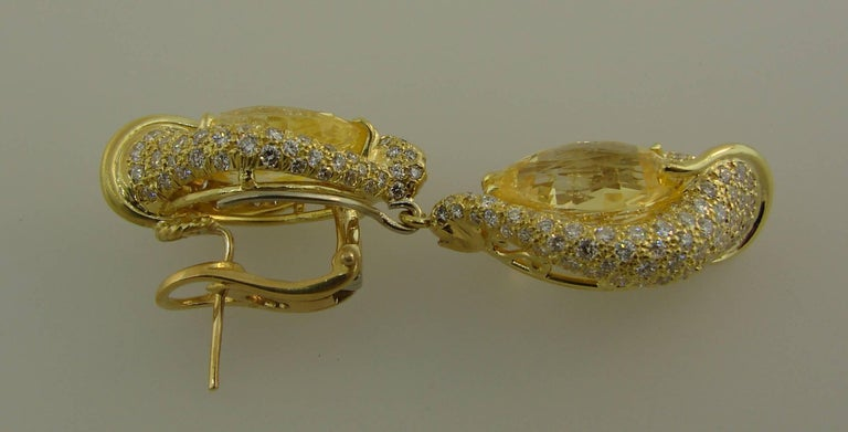Henry Dunay Yellow Sapphire Diamond Gold Earrings For Sale 2