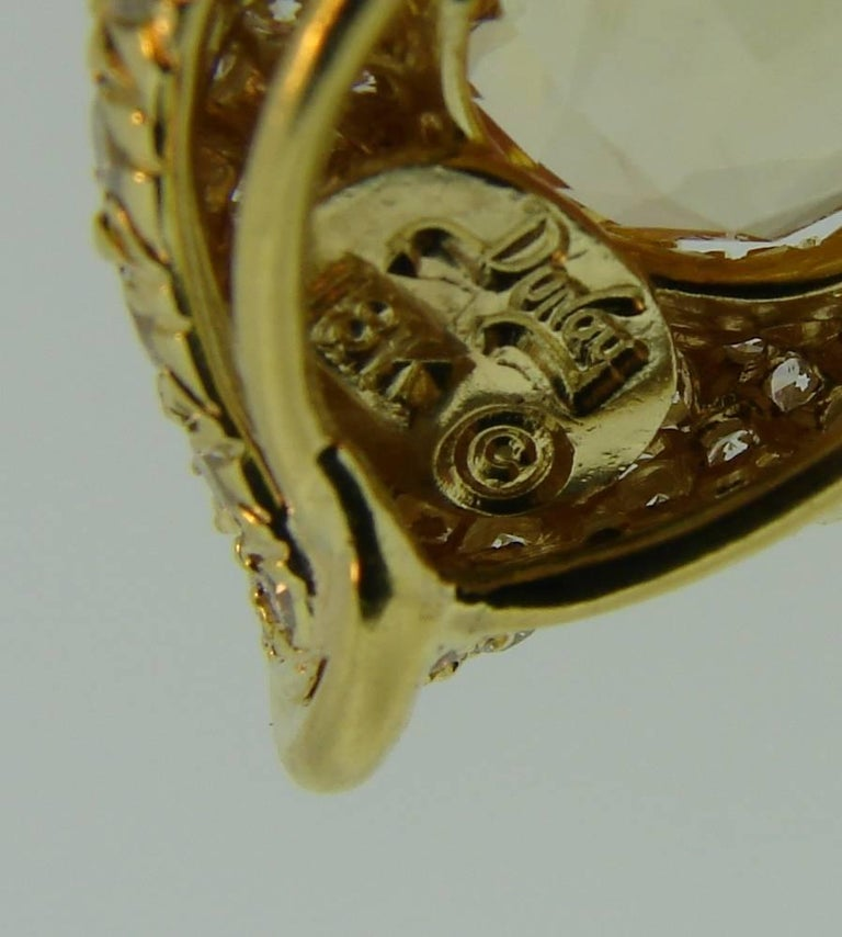 Henry Dunay Yellow Sapphire Diamond Gold Earrings 8