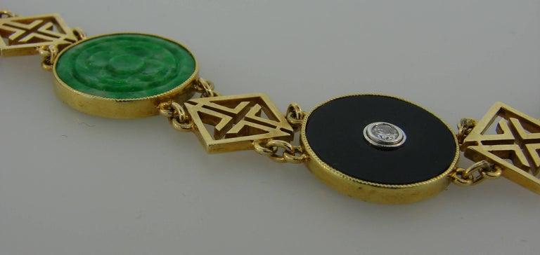 Tiffany & Co. Jade Onyx Diamond Yellow Gold Chinois Bracelet Art Deco, 1930s 2