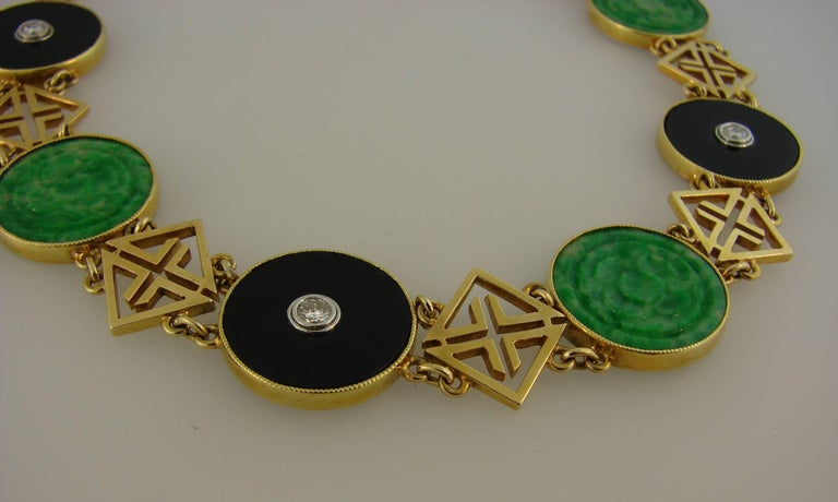 Tiffany & Co. Jade Onyx Diamond Yellow Gold Chinois Bracelet Art Deco, 1930s 1
