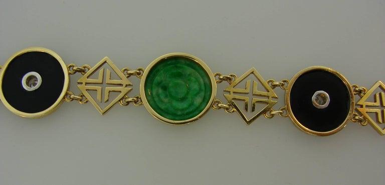 Tiffany & Co. Jade Onyx Diamond Yellow Gold Chinois Bracelet Art Deco, 1930s 4