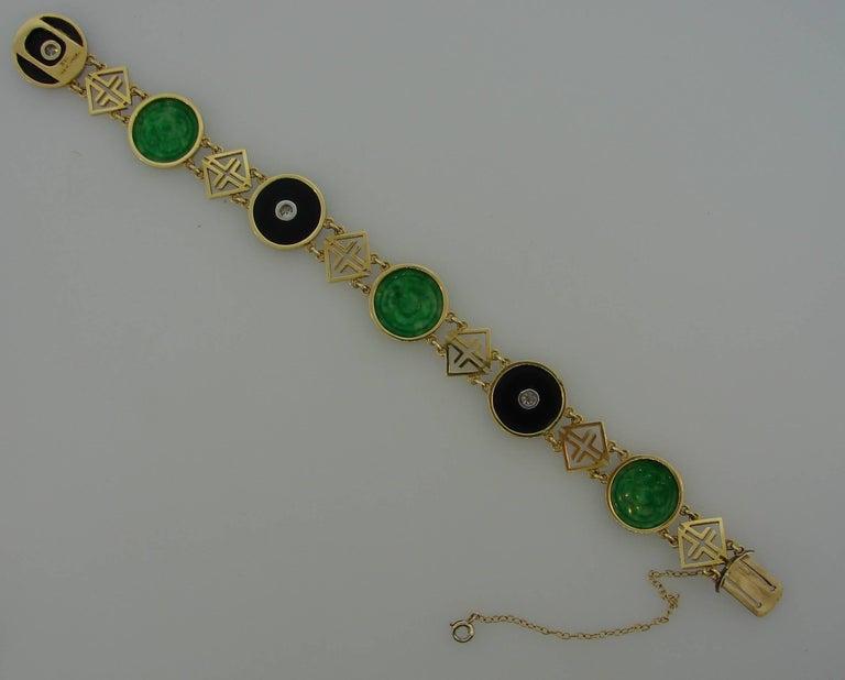 Tiffany & Co. Jade Onyx Diamond Yellow Gold Chinois Bracelet Art Deco, 1930s 3