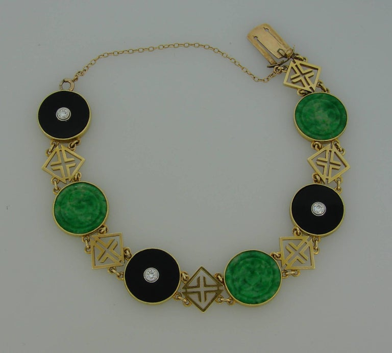 Tiffany & Co. Jade Onyx Diamond Yellow Gold Chinois Bracelet Art Deco, 1930s In Excellent Condition In Beverly Hills, CA