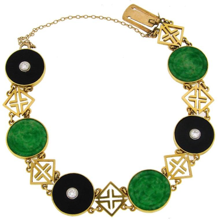 Tiffany & Co. Jade Onyx Diamond Yellow Gold Chinois Bracelet Art Deco, 1930s
