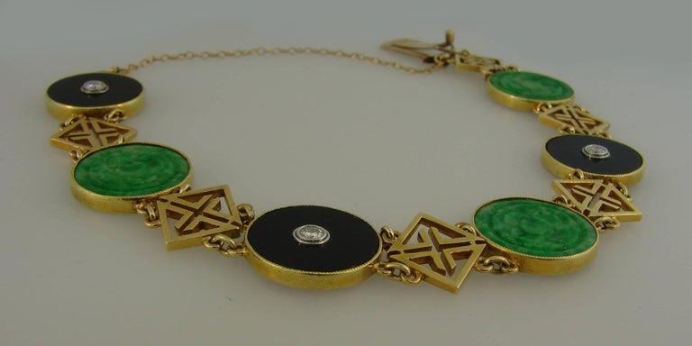 Women's or Men's Tiffany & Co. Jade Onyx Diamond Yellow Gold Chinois Bracelet Art Deco, 1930s