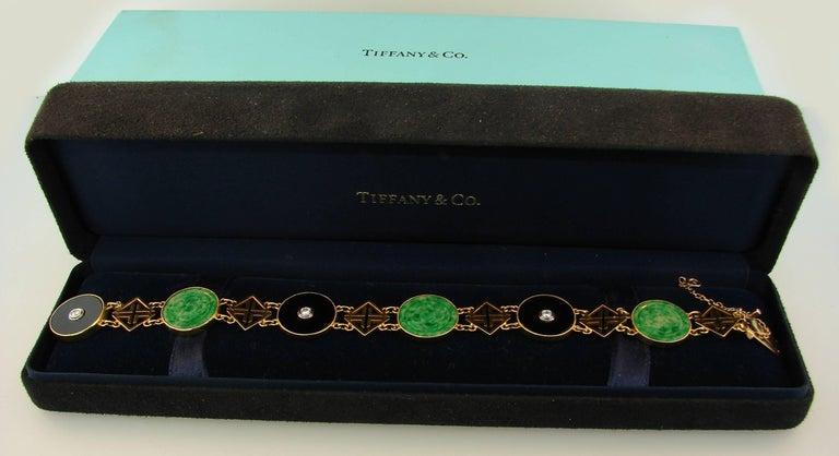 Tiffany & Co. Jade Onyx Diamond Yellow Gold Chinois Bracelet Art Deco, 1930s 5
