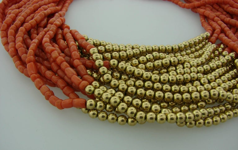1950s David Webb Coral Diamond Yellow Gold Necklace Removable Brooch Pin Clip 8