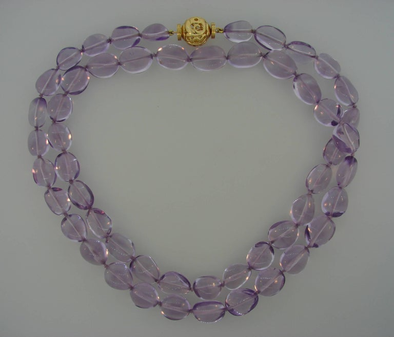 Women's Verdura Amethyst Bead Strand Necklace with Yellow Gold Clasp For Sale