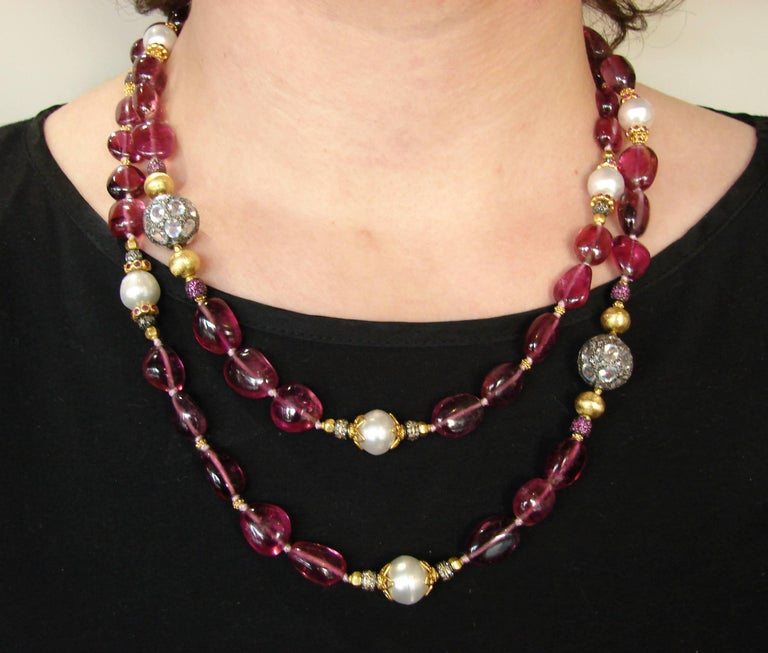 Verdura Multi Gems Bead Pearl Strand Necklace with Yellow Gold Bamboo Clasp In Excellent Condition For Sale In Beverly Hills, CA