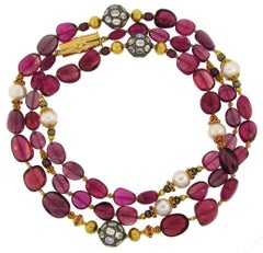 Verdura Multi Gems Bead Pearl Strand Necklace with Yellow Gold Bamboo Clasp