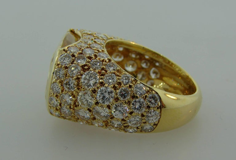 1980s Van Cleef & Arpels Yellow Sapphire Diamond Gold Bombe Ring For Sale 3