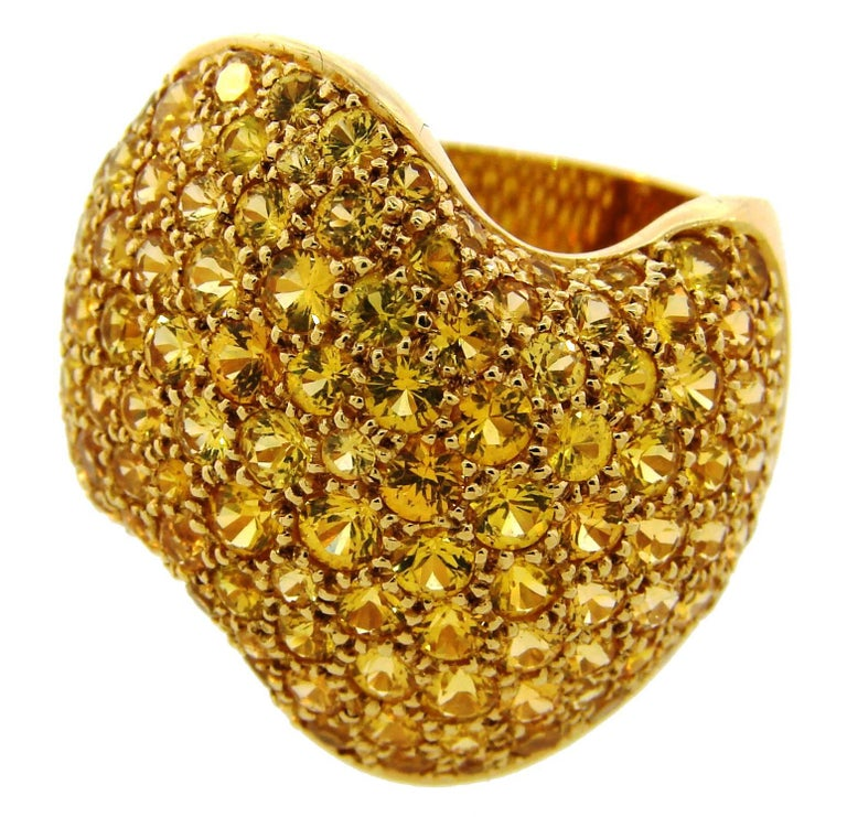 Van Cleef & Arpels Yellow Sapphire Gold Ring For Sale
