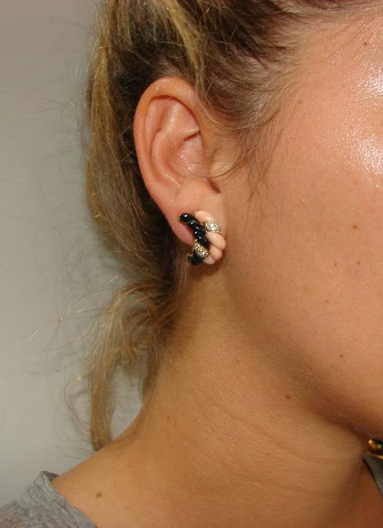 Boucheron Paris Coral Onyx Diamond Gold Necklace Earrings Set 1970s 10