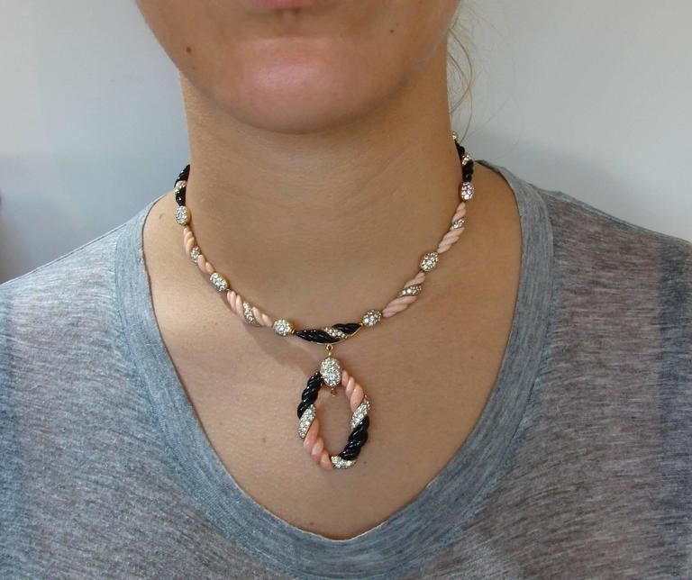 Boucheron Paris Coral Onyx Diamond Gold Necklace Earrings Set 1970s 8