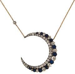 Victorian Sapphire Diamond Yellow Gold Silver Crescent Pendant Necklace, 1900s
