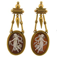 Etruscan Shell Cameo Yellow Gold Dangle Earrings, Victorian 1900s