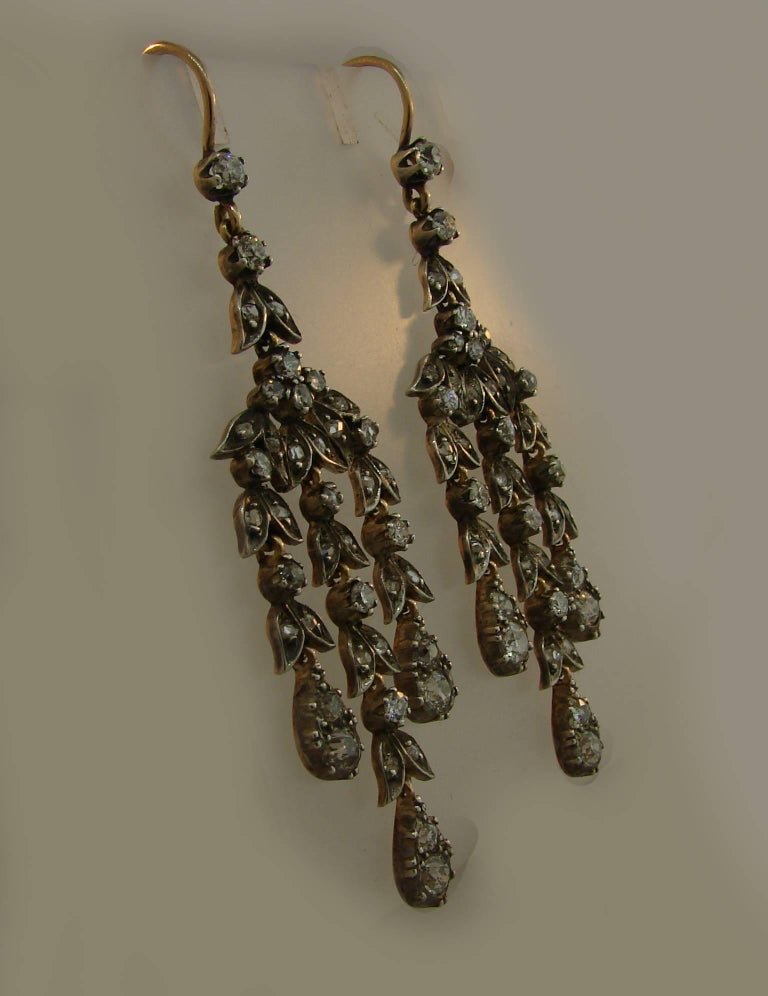 Diamond Silver Yellow Gold Dangle Earrings, Victorian Antique In Good Condition In Beverly Hills, CA