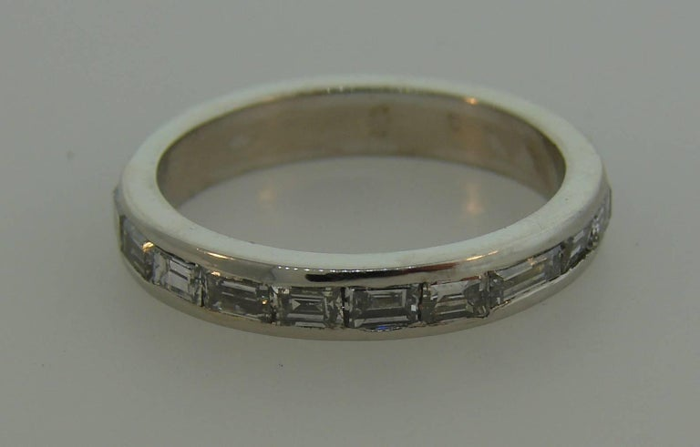 Baguette Cut 1960s Horizontal Baguette Diamond Platinum Eternity Band Ring Size 6.25 For Sale
