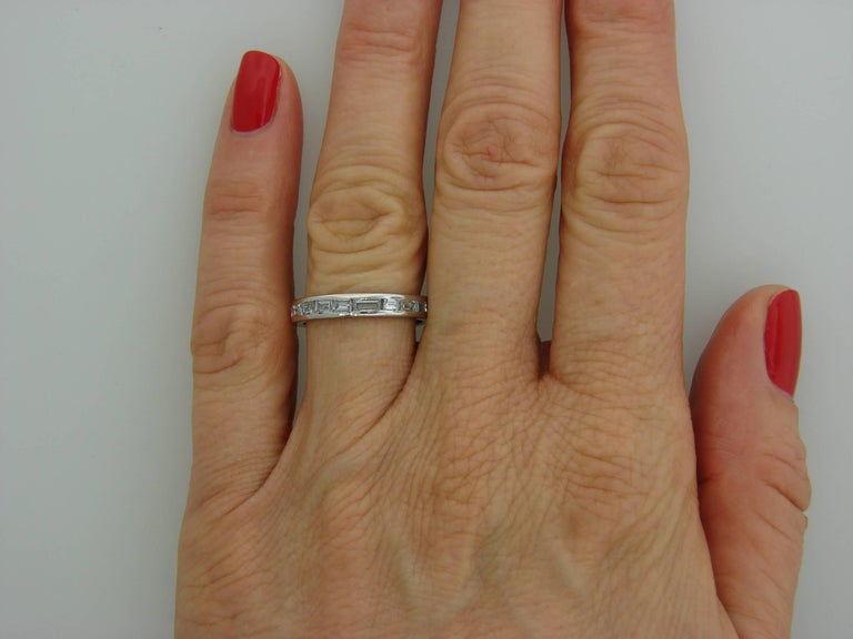 1960s Horizontal Baguette Diamond Platinum Eternity Band Ring Size 6.25 For Sale 1