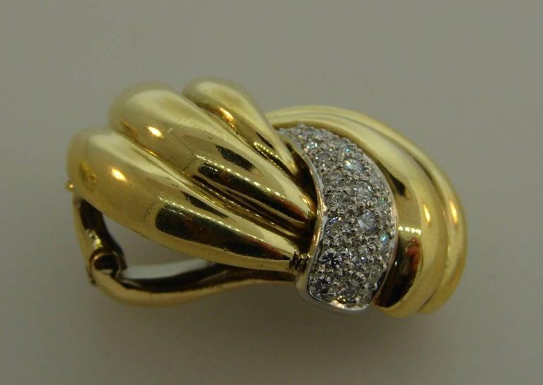 Women's 1980s Verdura Diamond Yellow Gold Earrings For Sale