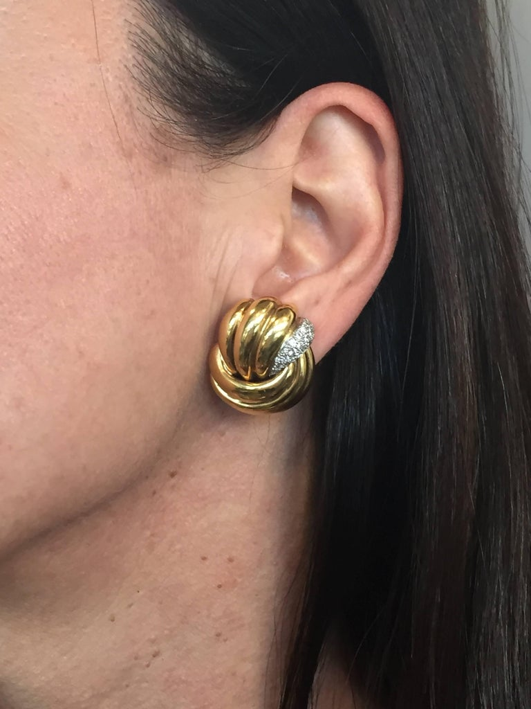 1980s Verdura Diamond Yellow Gold Earrings For Sale 3