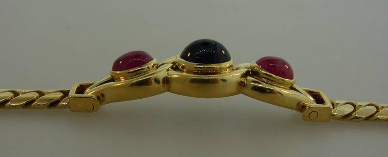 Bulgari Sapphire Ruby Yellow Gold Link Bracelet Bvlgari, 1980s 2