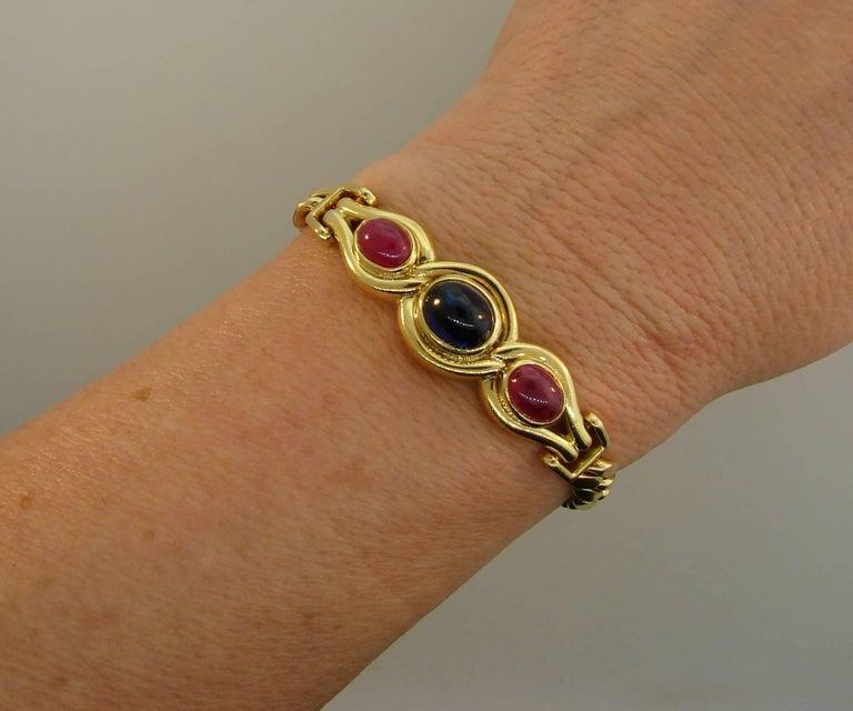 Bulgari Sapphire Ruby Yellow Gold Link Bracelet Bvlgari, 1980s 3