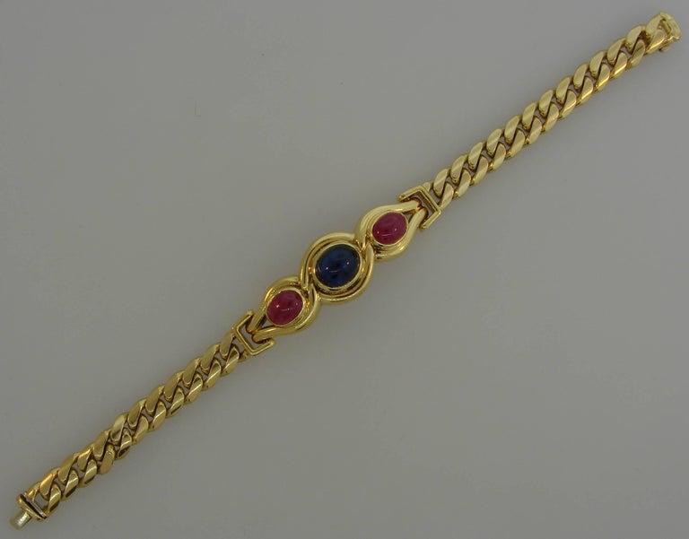 Women's Bulgari Sapphire Ruby Yellow Gold Link Bracelet Bvlgari, 1980s