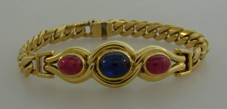 Bulgari Sapphire Ruby Yellow Gold Link Bracelet Bvlgari, 1980s In Excellent Condition In Beverly Hills, CA