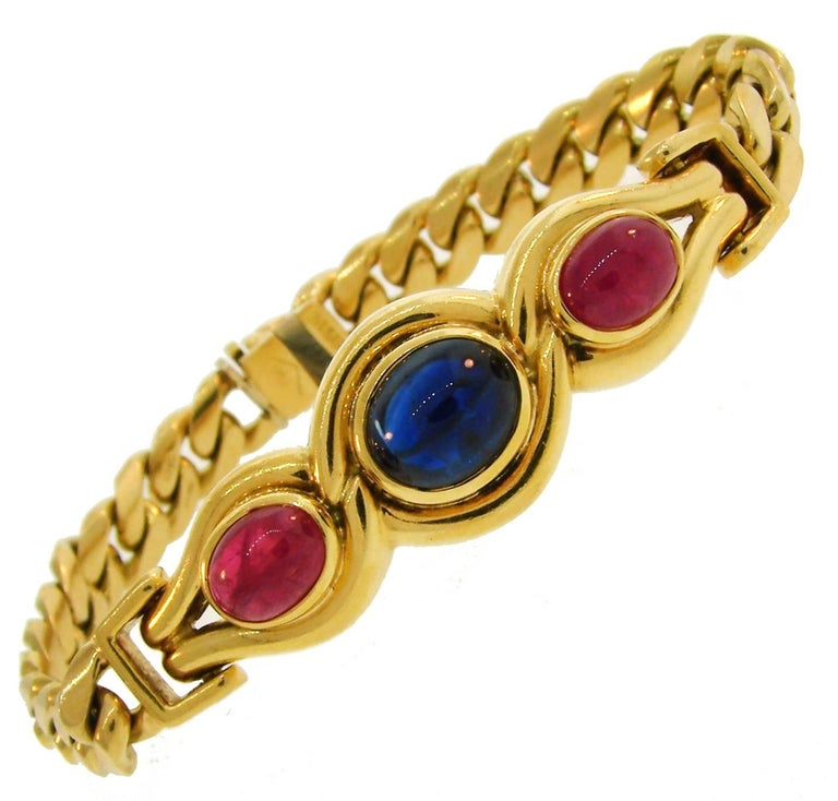 Bulgari Sapphire Ruby Yellow Gold Link Bracelet Bvlgari, 1980s