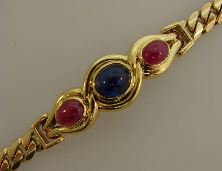 Bulgari Sapphire Ruby Yellow Gold Link Bracelet Bvlgari, 1980s 1