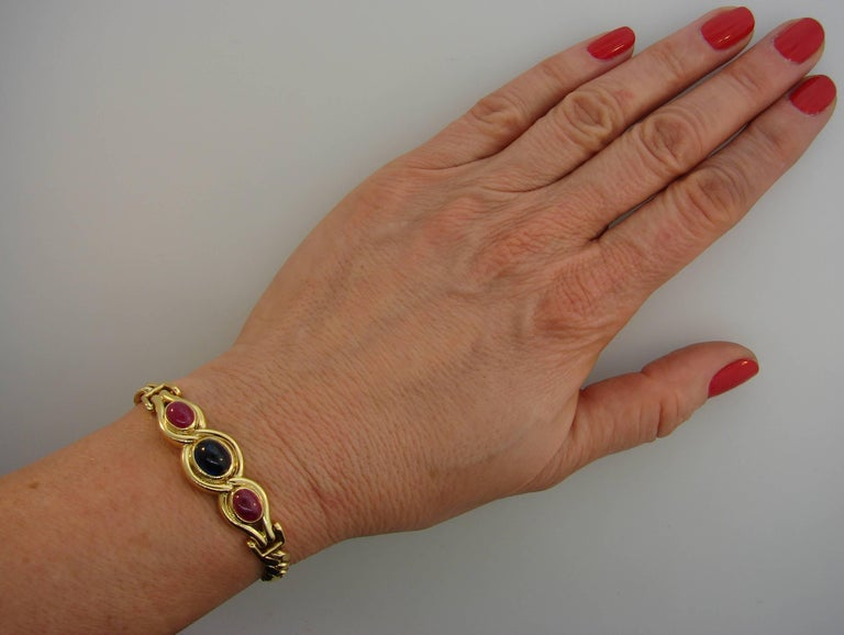 Bulgari Sapphire Ruby Yellow Gold Link Bracelet Bvlgari, 1980s 4