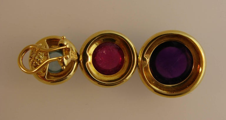 Tiffany Paloma Picasso Gemstones Gold Earrings 1980s  For Sale 1