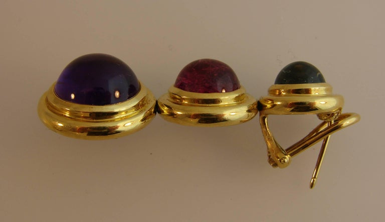 Tiffany Paloma Picasso Gemstones Gold Earrings 1980s  For Sale 2