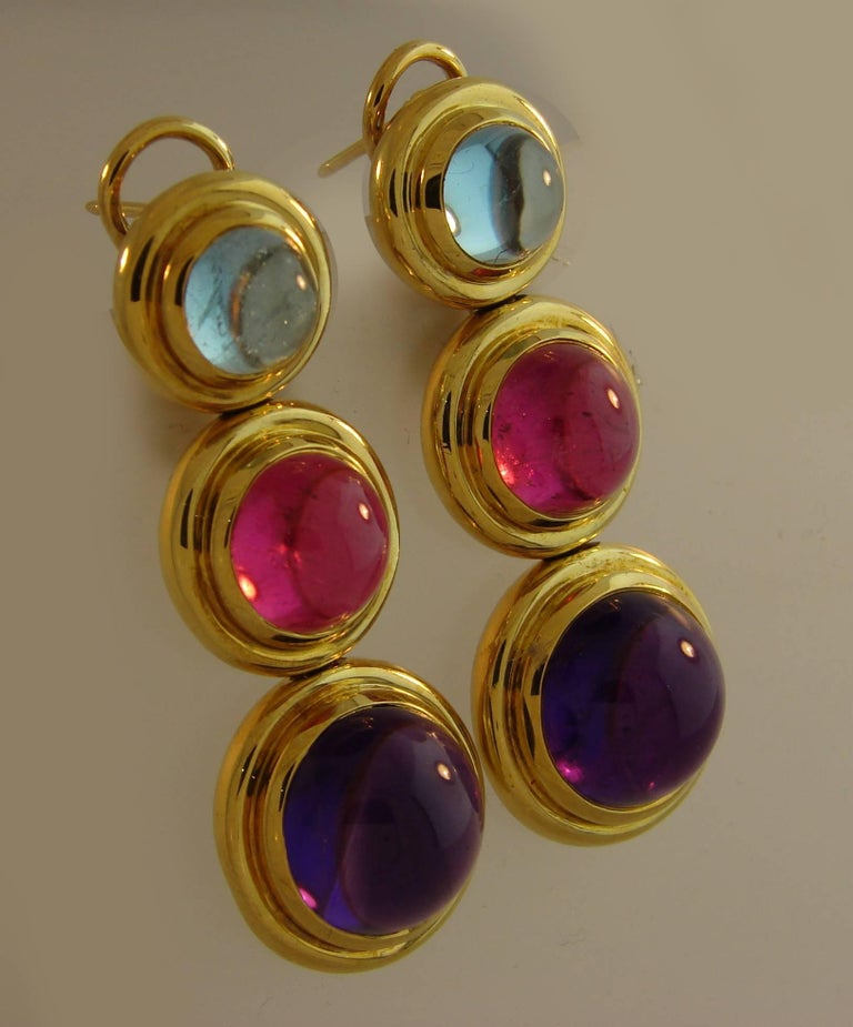 Women's Tiffany Paloma Picasso Gemstones Gold Earrings 1980s  For Sale