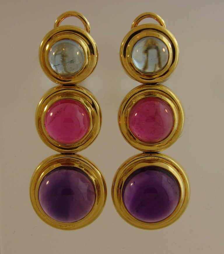 Tiffany Paloma Picasso Gemstones Gold Earrings 1980s  In Excellent Condition For Sale In Beverly Hills, CA