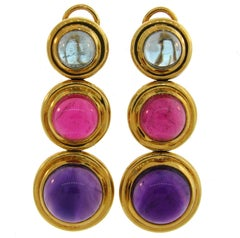 Tiffany Paloma Picasso Gemstones Gold Earrings 1980s