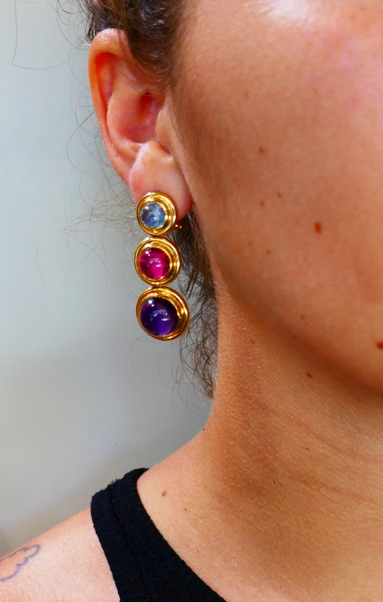 Tiffany Paloma Picasso Gemstones Gold Earrings 1980s  For Sale 6