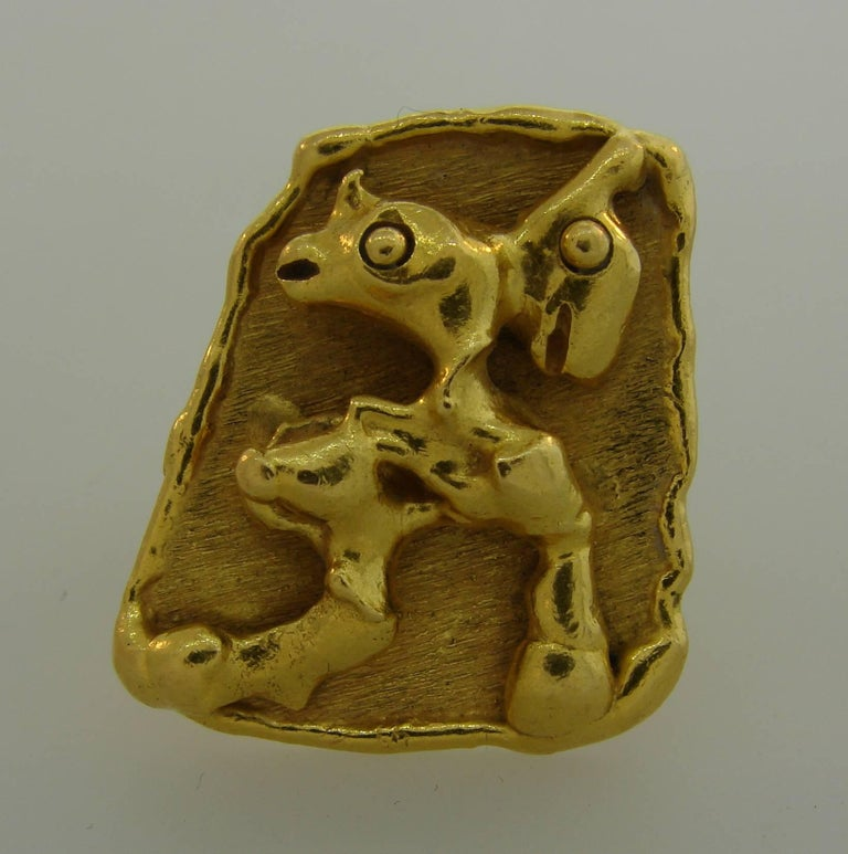 Women's or Men's Jean Mahie 22 Karat Yellow Gold Ring For Sale