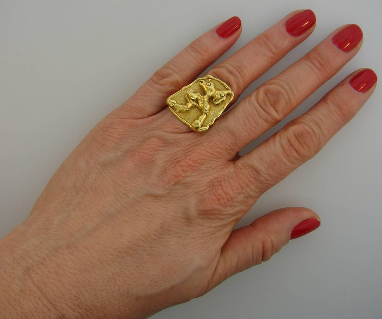 Bold and architectural ring created by Jean Mahie in the 1980s. Wearable and stylish, the ring is a great addition to your jewelry collection.  The top measures 1 x 7/8 inches (2.5 x 2.2 cm).  The ring is size 5 and is re-sizable. It weighs 16.3