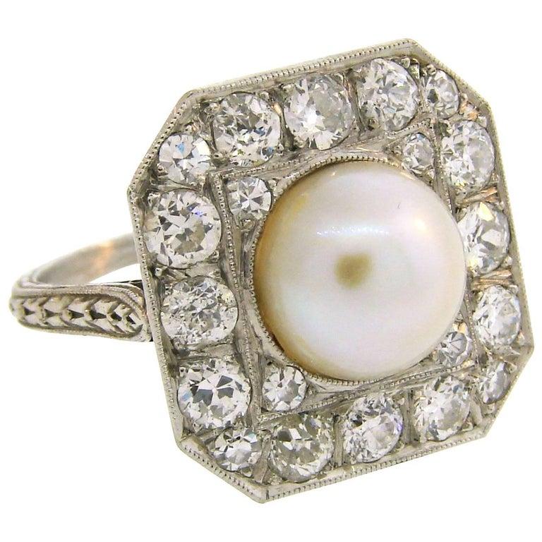 Edwardian Pearl Diamond Platinum Ring