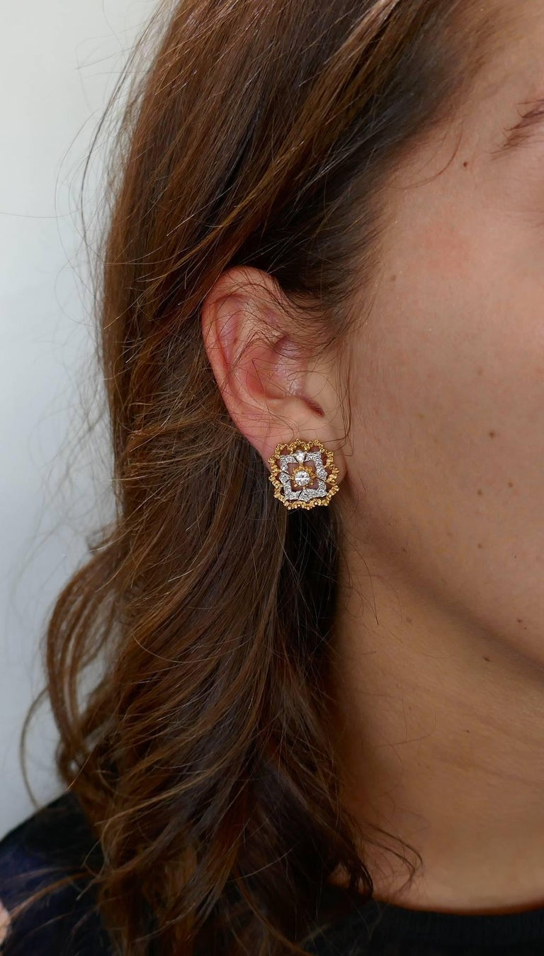 Classy and timeless ear clips created by Buccellati in Italy in the 1980s.  Feminine, wearable and chic, the earrings are a great addition to your jewelry collection. Made of 18 karat yellow and white gold and set with round brilliant cut diamonds