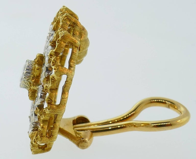 Buccellati Diamond Gold Clip-On Earrings For Sale 2