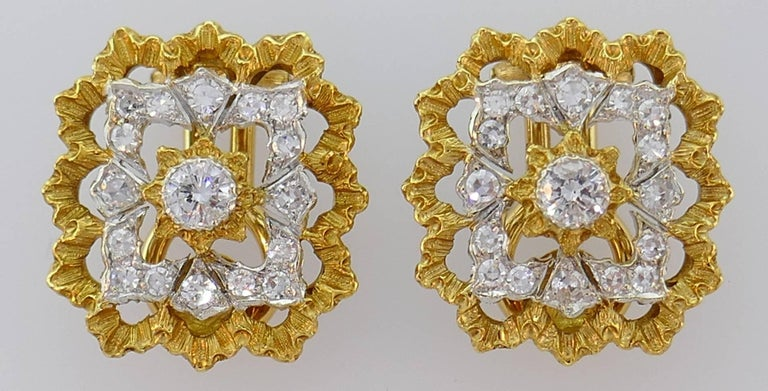 Buccellati Diamond Gold Clip-On Earrings In Good Condition For Sale In Beverly Hills, CA