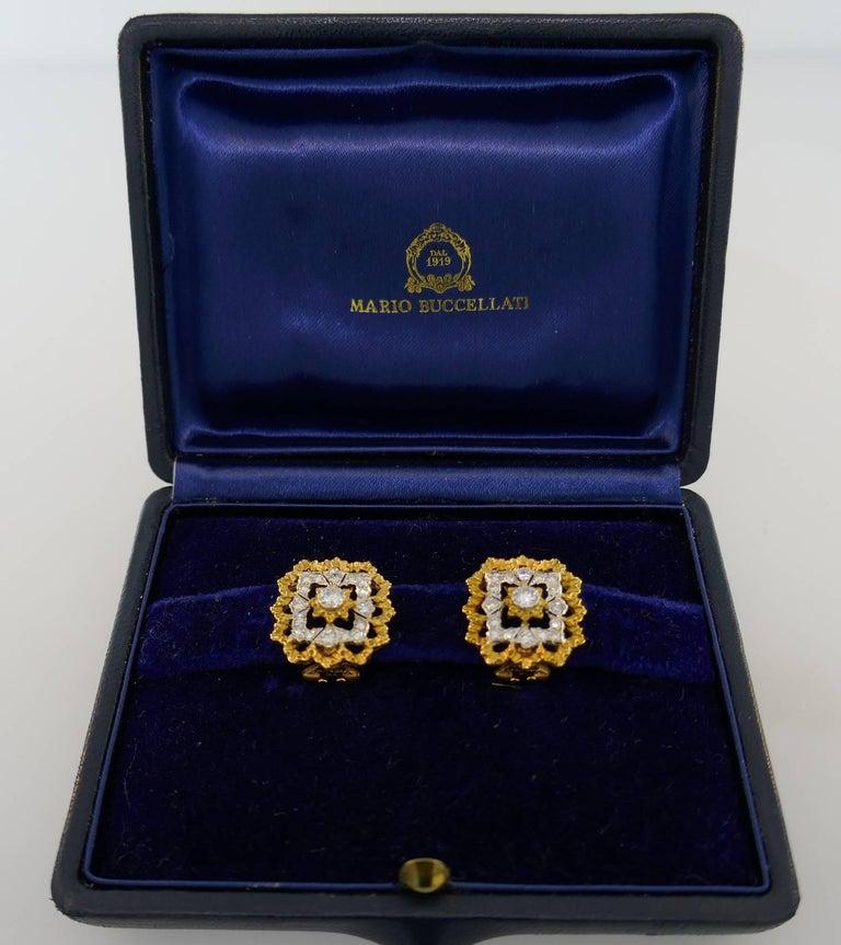 Buccellati Diamond Gold Clip-On Earrings For Sale 4