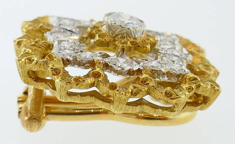 Women's Buccellati Diamond Gold Clip-On Earrings For Sale