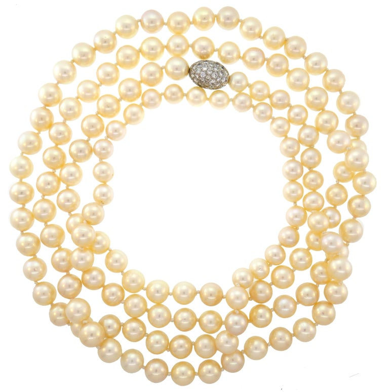 Pearl Strand Necklace with Diamond White Gold Clasp, Opera Length