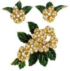 Boucheron Diamond Enamel Gold Earrings Clip Set Brooch Pin, 1950s France